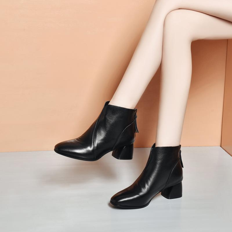 Boots 2020 new fall versatile spring and autumn single boots leather thick heel autumn and winter womens shoes middle heel Martin boots