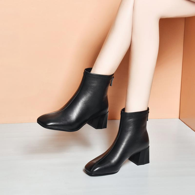 Leather short boots womens spring and autumn single boots thick heeled boots autumn and winter 2020 new cotton shoes medium heeled shoes Martin boots