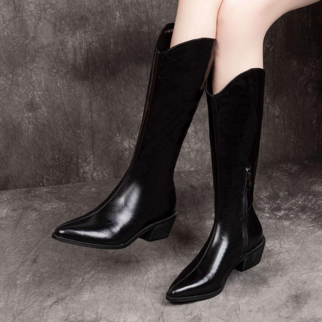 Full leather pointed western cowboy boots womens high boots womens knee thin thick heel leather long Knight boots