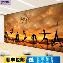 印度瑜伽馆舞蹈室背景墙面装饰壁画健身房前台壁纸运动定制3d墙纸