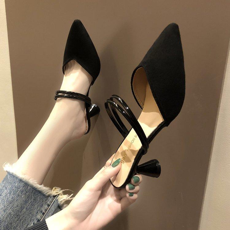 凉拖女春夏季女鞋半包o头凉拖鞋女外穿气质黑色浅口细跟小跟高跟