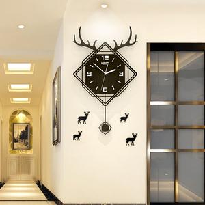 招财鹿头钟表挂钟客厅现代简约时钟家用创意个性静音大气艺术挂表