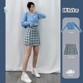 大码bm风胖妹妹半身裙格子显瘦大码适合胖女孩洋气两件套装短裙子