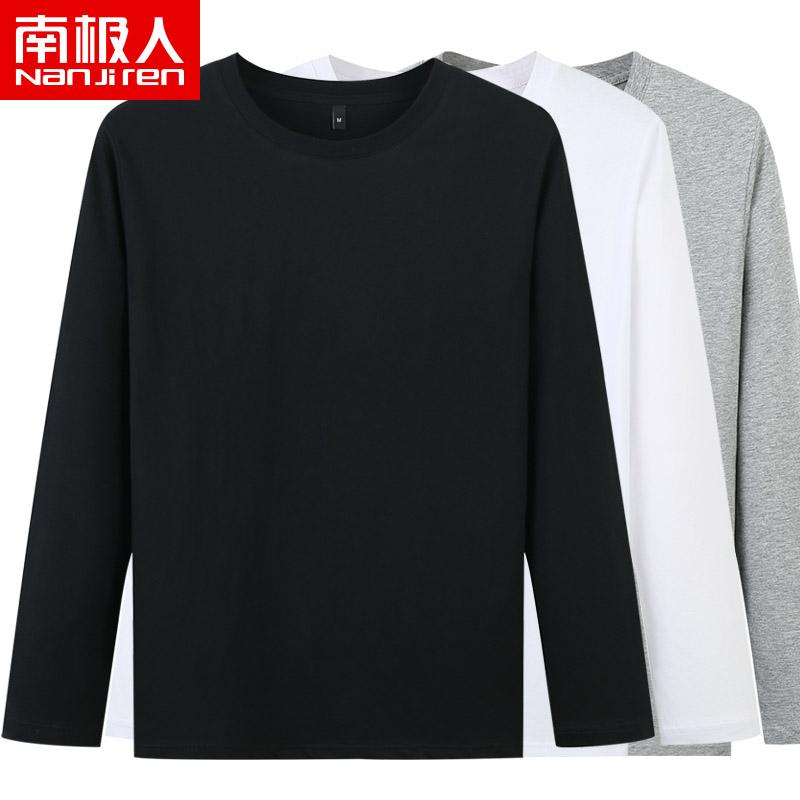 南极人长袖t恤男春季新款纯棉印花打底衫潮流宽松休闲男士上衣服
