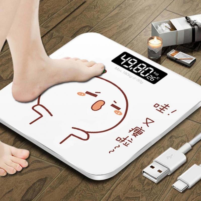 满5元可用2元优惠券家用电子称体重秤精准成人称重人体秤可爱卡通称婴儿电子秤
