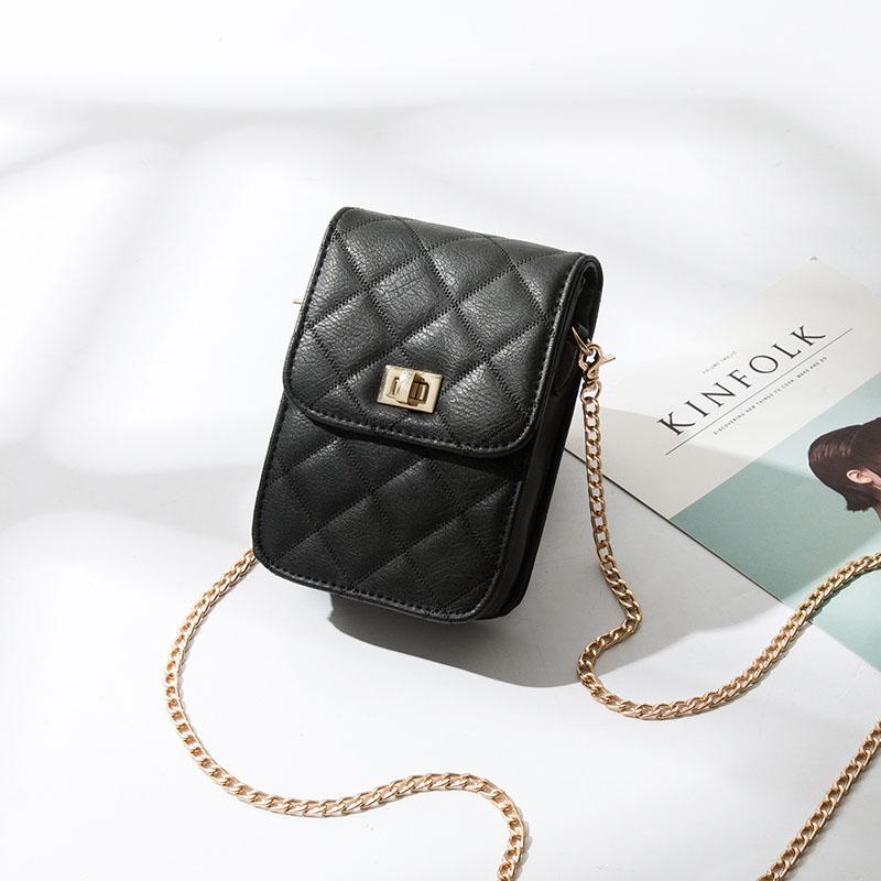 上新小包包女2019新款百搭单肩斜挎包零钱包袋迷你菱格链条手机包