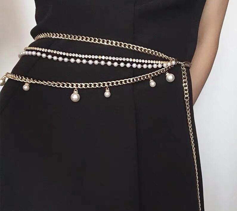 Japanese tassel dress decorative chain female European and American pearl water diamond multilayer waist chain sexy body chain metal waist