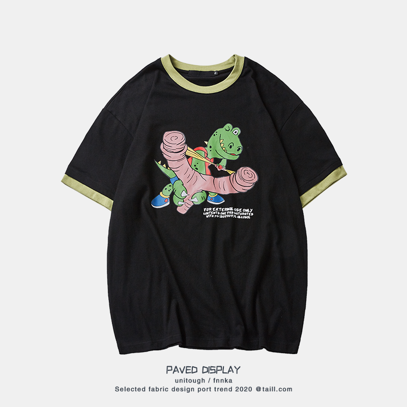 Unitough summer ins hip hop funny dinosaur cartoon cartoon cartoon print BF loose versatile Short Sleeve T-Shirt Top