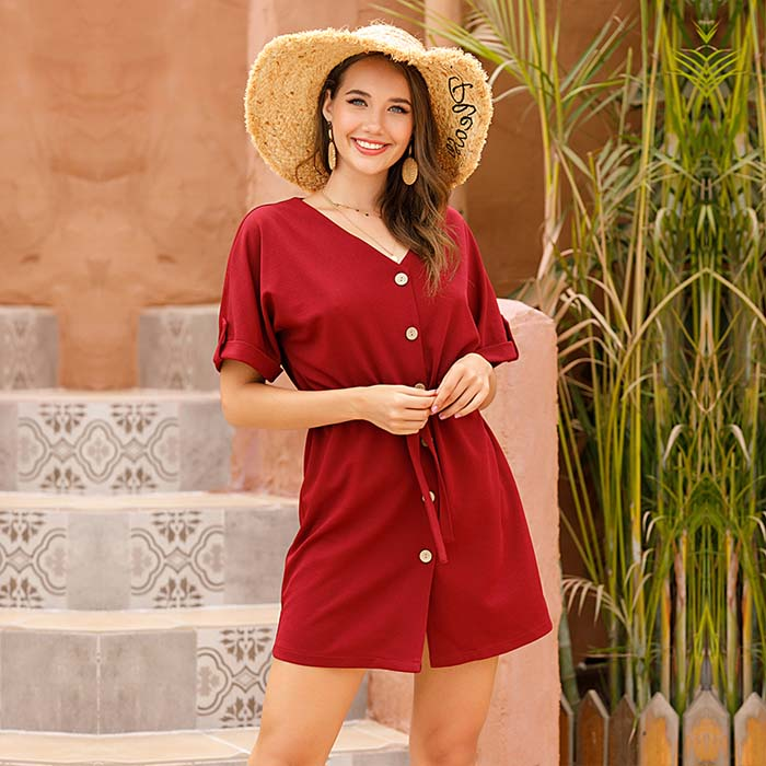Jim & Nora solid V-neck Button Waist lace up casual dress for women