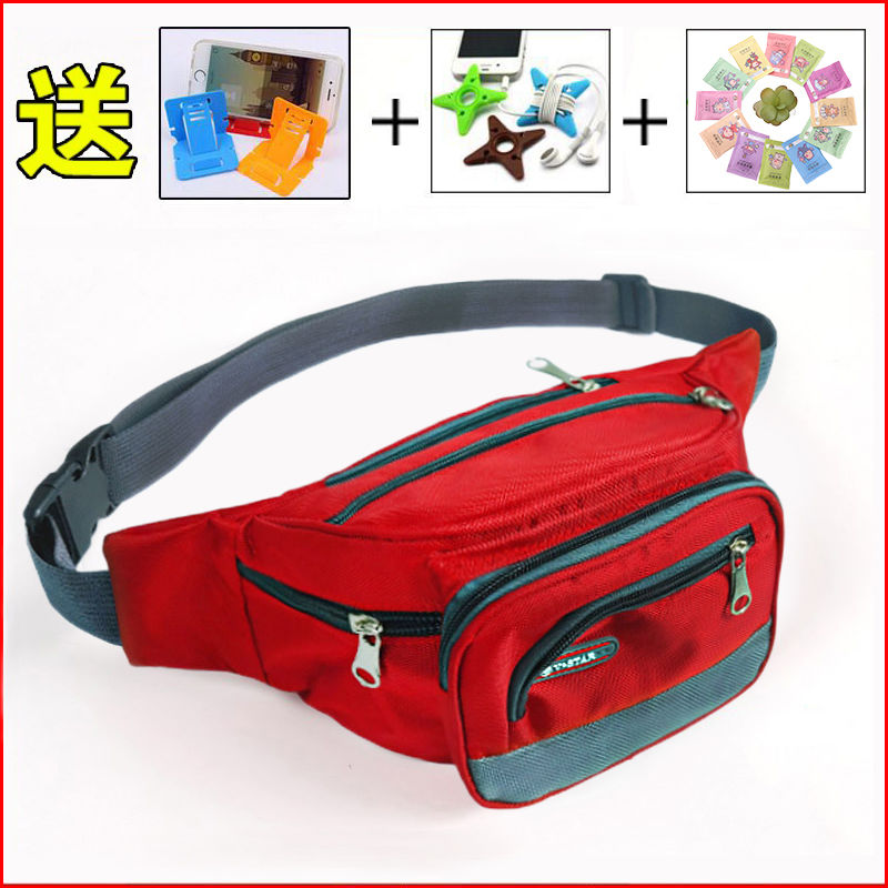 Outdoor sports travel canvas waist bag mens and womens mobile phone zero wallet multi-functional multi-layer Waist Bag Messenger chest bag