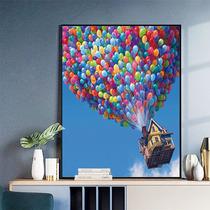 美式沙发背景墙挂画巨人山三联画欧式手绘风景油画客厅玄关装饰画