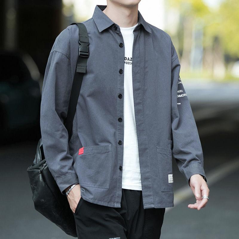 纯棉男士长袖衬衫休闲宽松版免烫港风