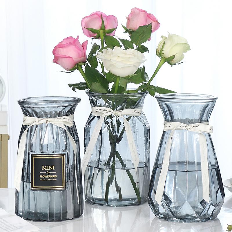 【三件套】玻璃花瓶透明彩色水培百合富贵竹客厅插花摆件条纹花瓶