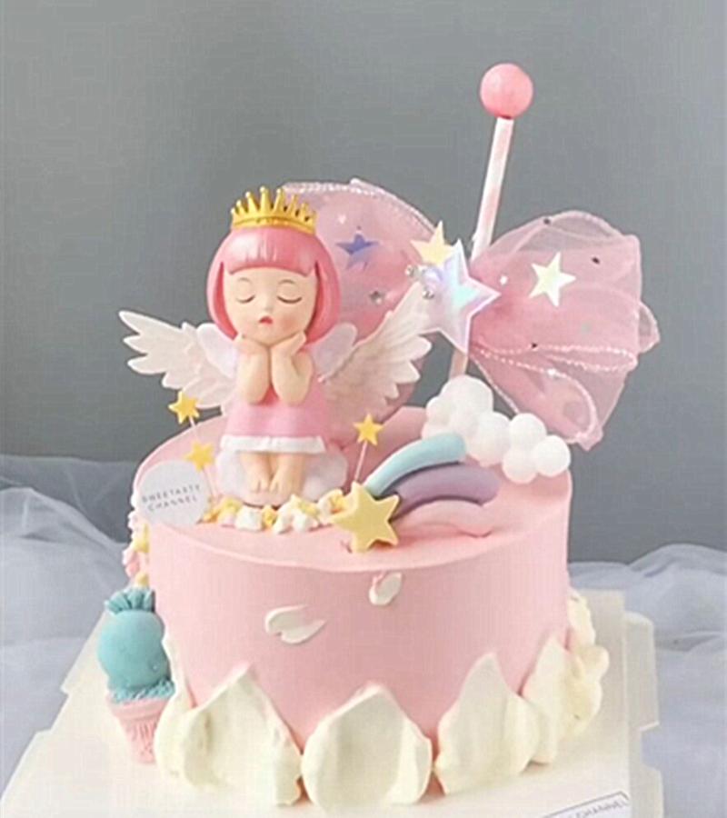 Cake decorations: Elsa and Keller, Prince Ellen, Princess eloe, Devil Angel Doll, baked desserts