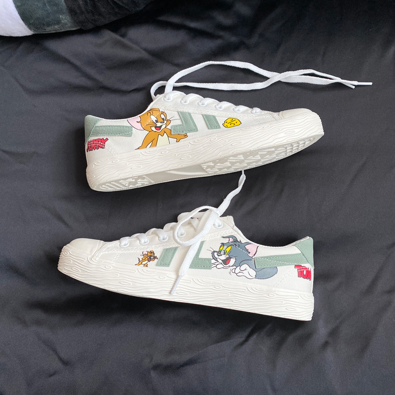 Korean cat and mouse print flat shoes season breathable anti slip casual shoes trend 2 mens low top canvas