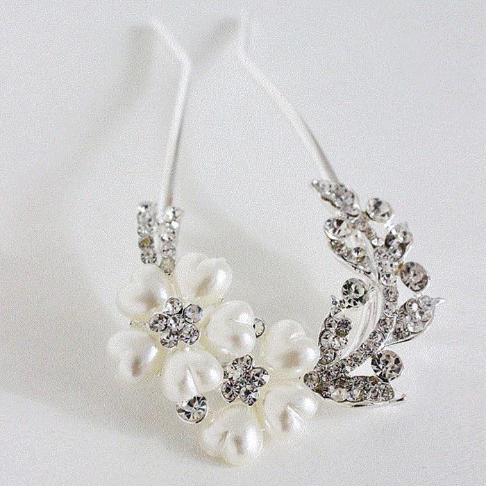 水晶饰品发簪时尚女士中年少女伴娘发梳发卡戴在头上的发钻子假发