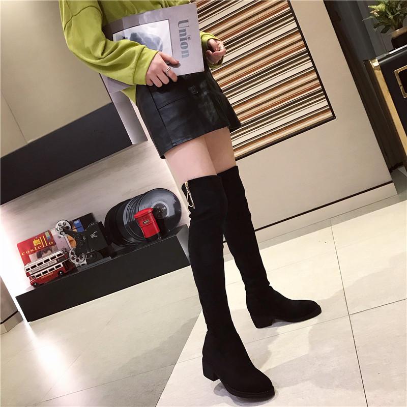 长靴女过膝靴子女2019秋冬款加绒高筒靴女拉链长筒靴平底绒面女靴