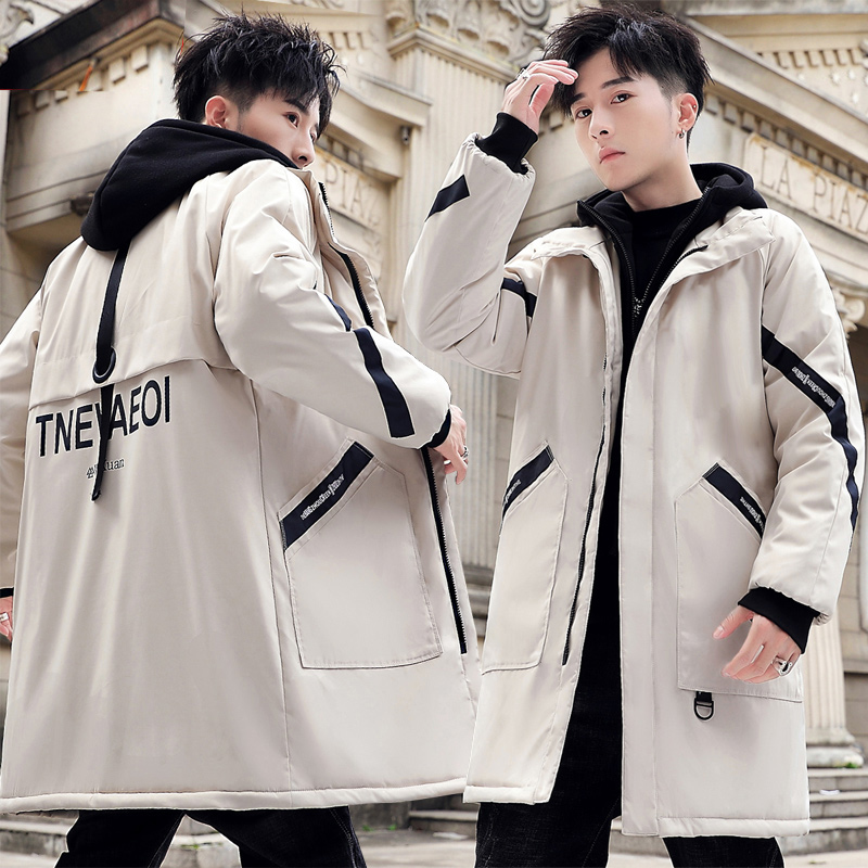 W. Yuan new style cotton padded mens winter medium length heavy coat fashion Korean version of clothes down jacket winter cotton jacket