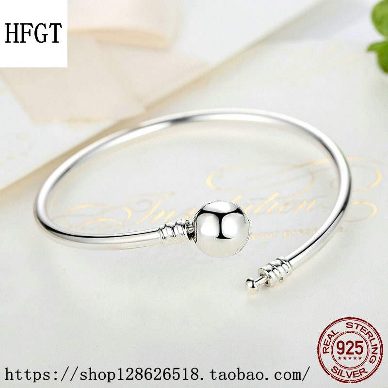Genuine hfgt European and American popular Beaded smooth round head smooth buckle Beaded foundation S925 Sterling Silver Bracelet