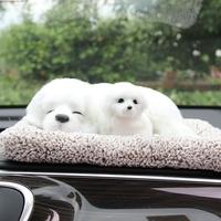 带底座迷你车装饰品汽车小动物摆件的车内摆设车里高档摆放仿真狗