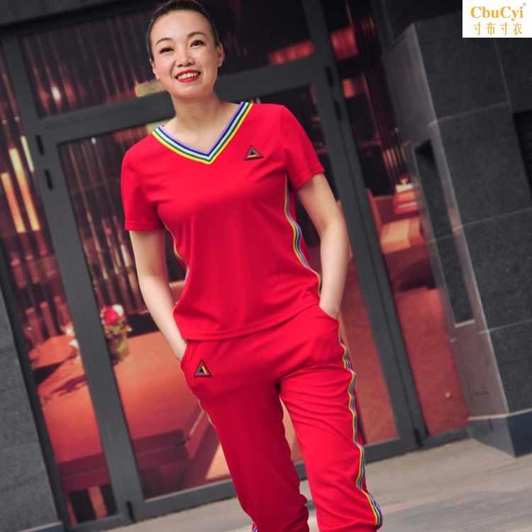 广场舞运动休闲服装套装新款女杨丽萍夏装短袖中老年鬼步舞演出服