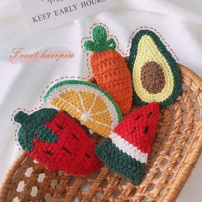 朵菲猫可爱水果针织发夹bb夹儿童毛线发卡夹子头饰韩国公主刘海夹