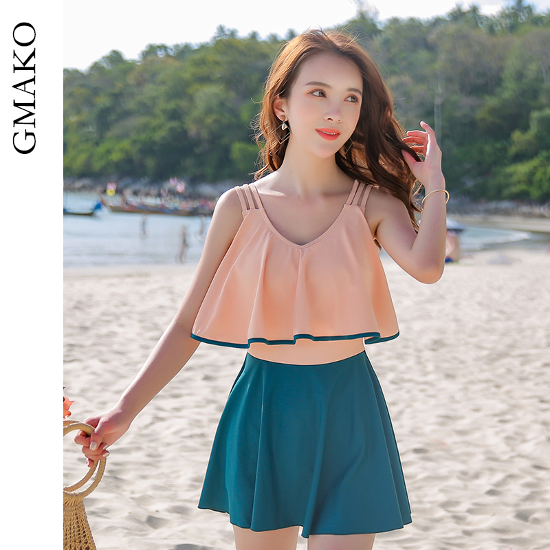 Gmako swimsuit female Korean fairy ins large size conservative cover belly show thin hot spring open back one-piece skirt swimsuit