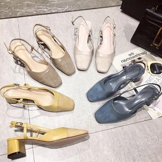 包头凉鞋女2019新款夏季仙女风后空高跟鞋粗跟网红雾霾蓝方头单鞋