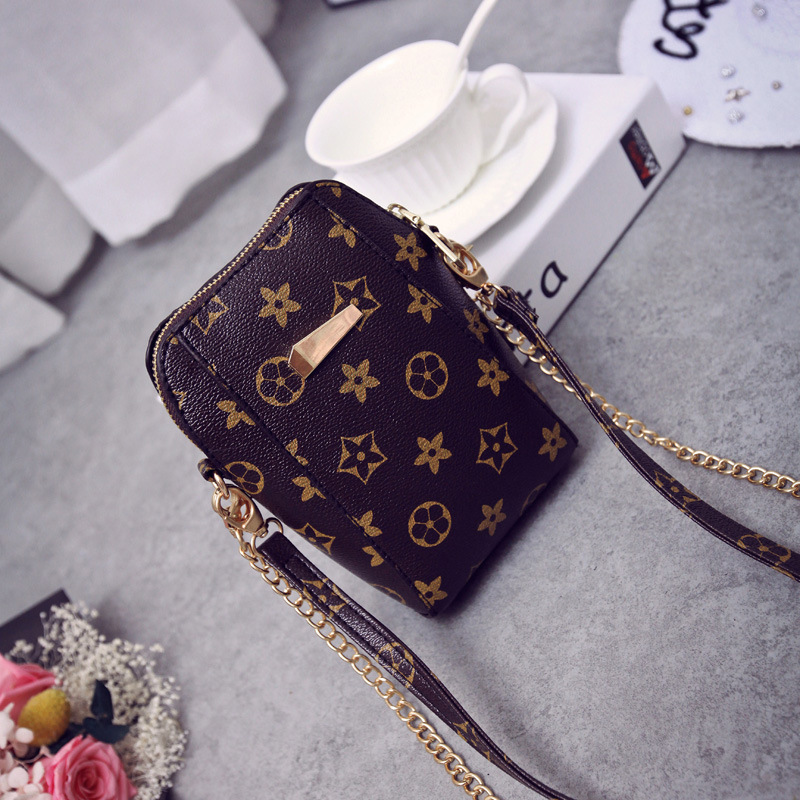 Classic old flower mobile phone bag summer new chain womens bag zero purse womens mini one shoulder straddle bag