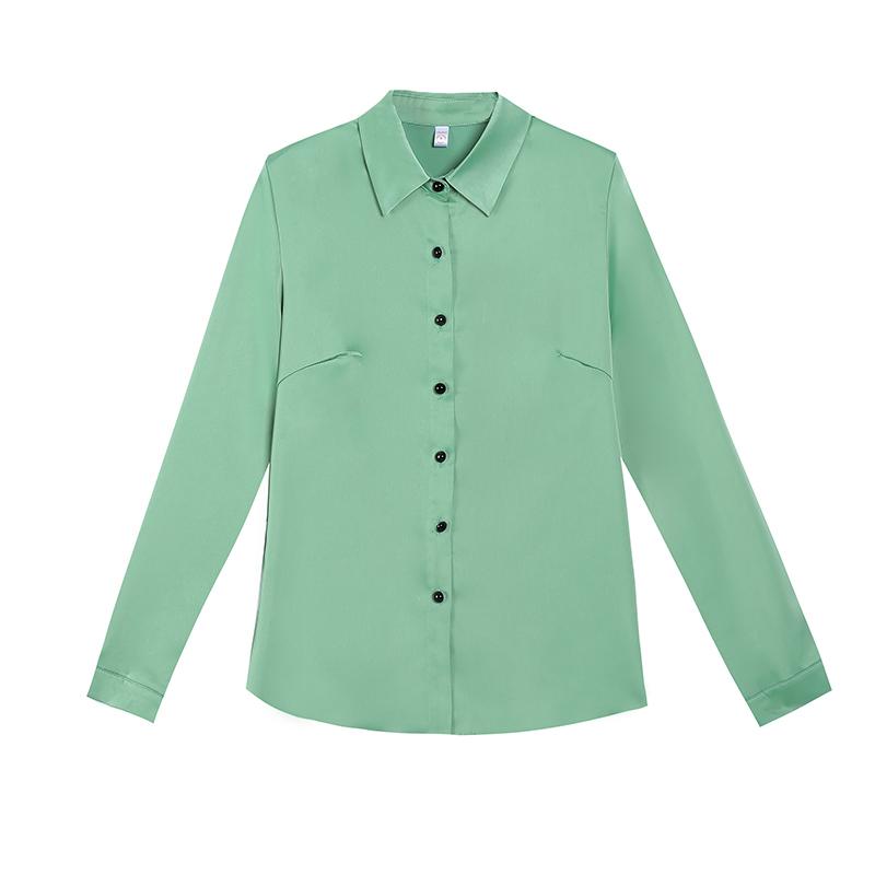雪纺衬衫女长袖春季2021年新款韩版洋气职业装衬衣加绒上衣打底衫
