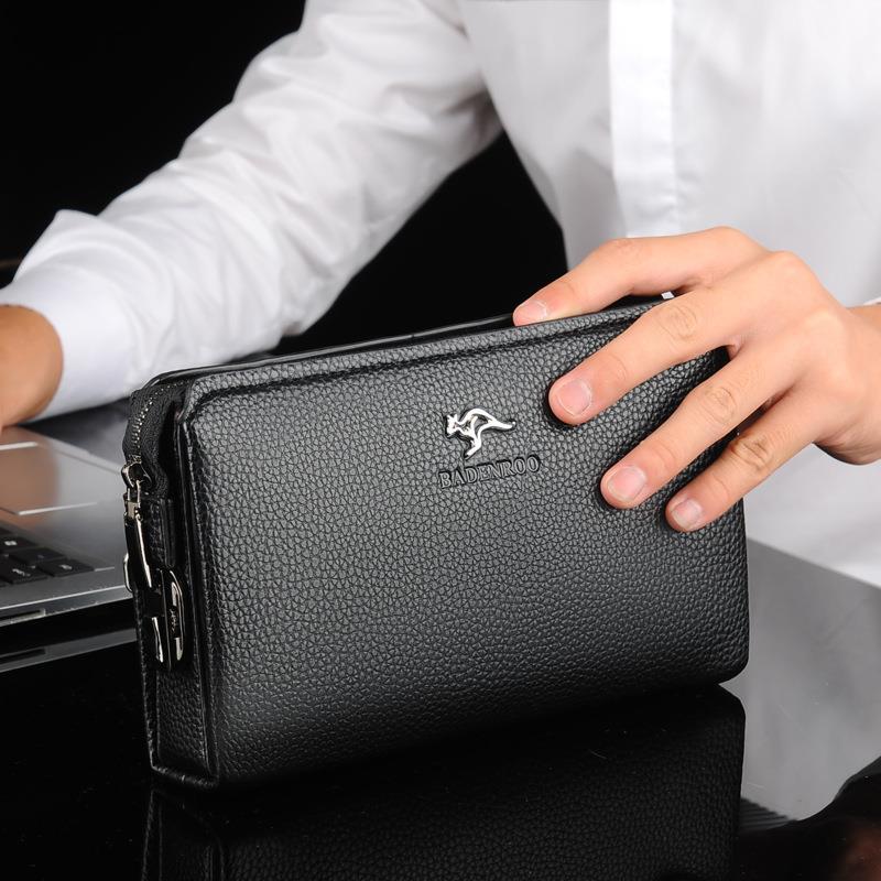 袋鼠防盗密码锁男士手包大容量商务手拿包手抓包时尚长款钱包夹包