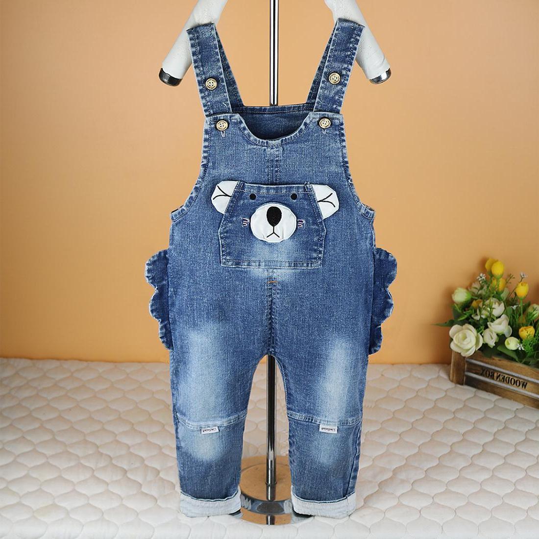 春季宝宝软牛仔背带裤可开裆0-1-2-3岁男童女婴儿纯棉休闲洋气裤