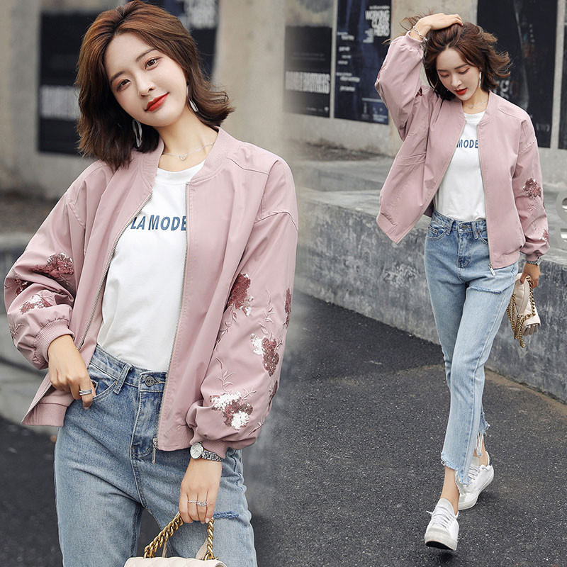 Short coat womens spring and autumn new Hong Kong Style Vintage baseball uniform loose stand collar BF jacket embroidered Sequin top