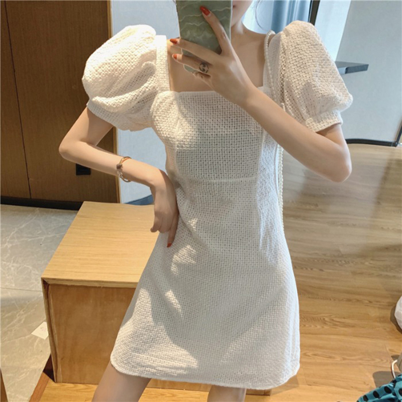 Summer 2020 new womens large bubble sleeve white skirt temperament Goddess Dress small dress