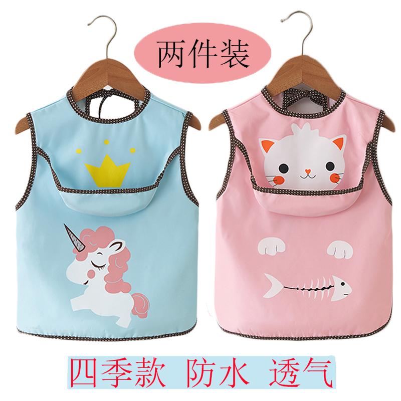 宝宝吃饭罩衣儿童防水反穿衣男女夏季薄款无袖围裙婴儿围兜口水巾图片