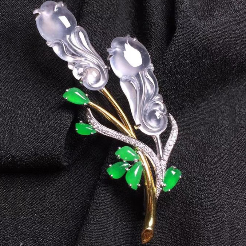 Rose Brooch inlaid with 18K Gold