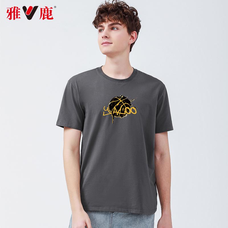 Yalu summer 2021 mens short sleeve T-shirt trend summer fashion brand top printed round neck half sleeve bottom shirt