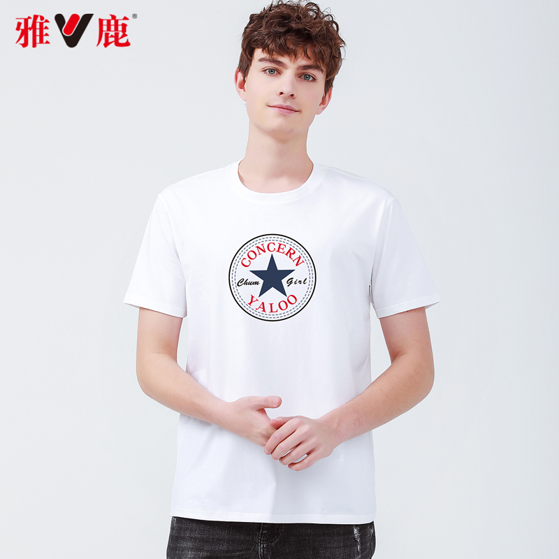 Yalu short sleeve T-shirt, mens trend, versatile leisure, 2021 summer new printing, loose fitting youth