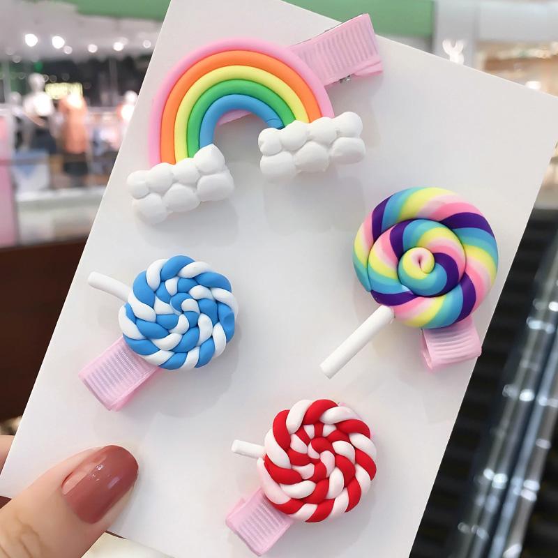 糖豆新语可爱韩国儿童发夹头饰糖果色日系彩虹棒棒糖头饰夹子发卡券后3.80元