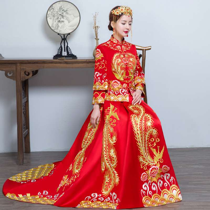 New wedding dress with hairstyle, brassiere, mid length toasting dress, brides autumn banquet evening dress, high heels shoes improvement