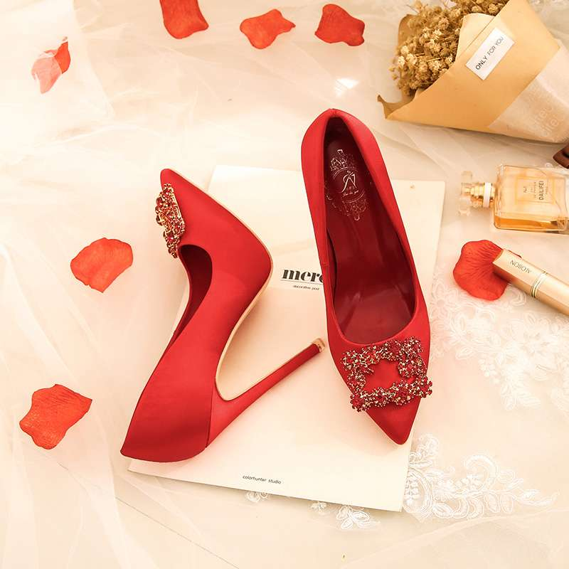 Hentian high wedding shoes womens super high heel 12cm crystal wedding dress shoes thin heel waterproof platform bridal shoes red small size 32