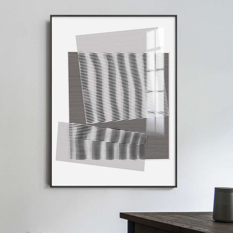 Sufan minimalism black and white lines abstract art living room Gallery designer model room exhibition hall decorative painting