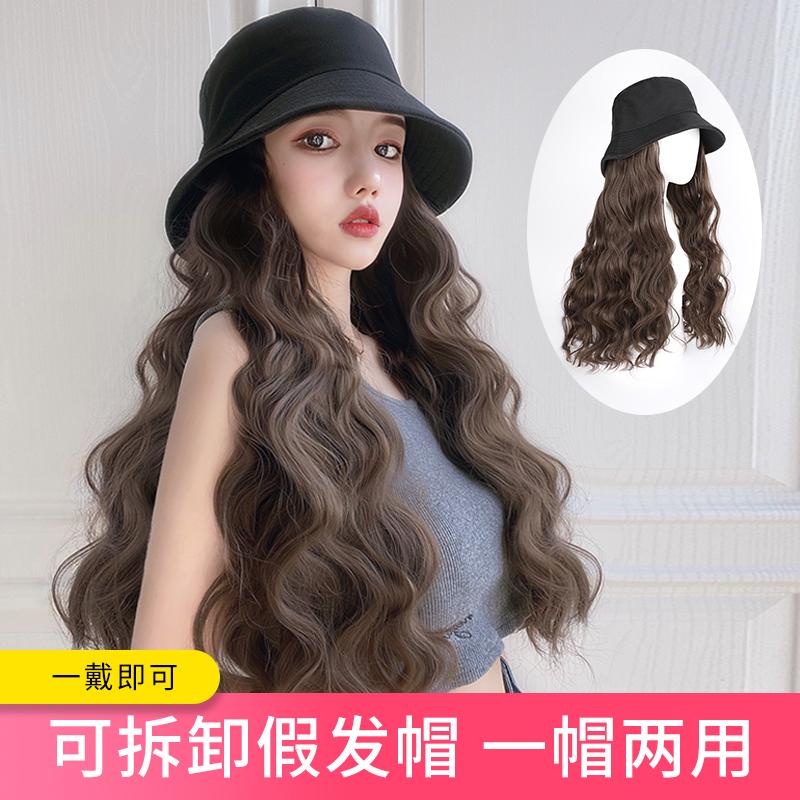 中国假发帽子一体 时尚 秋季冬季洋气长卷发直发戴假发的女士百搭
