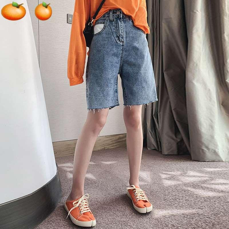 孕妇夏季牛仔短裤 时尚托腹宽松大码五分中裤外穿薄款直筒潮妈裤