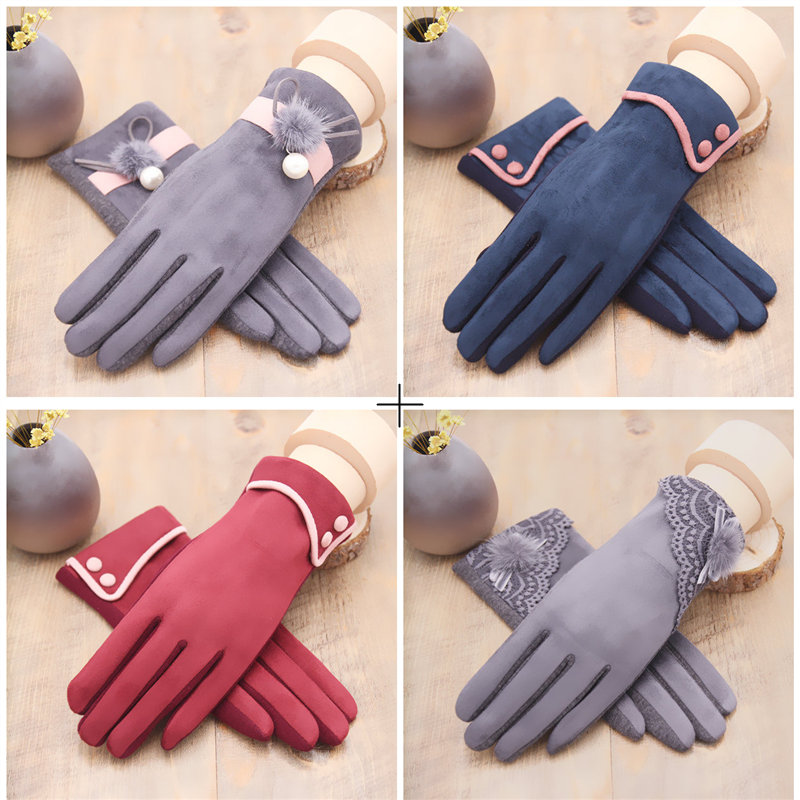 Glove girl warm in winter add thick suede warm suede lovely student touch screen gloves riding driving windproof