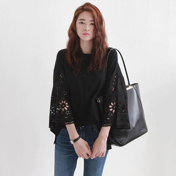 韩国代购东大门女装镂空花朵袖七分袖拼接宽松T恤女新款秋装