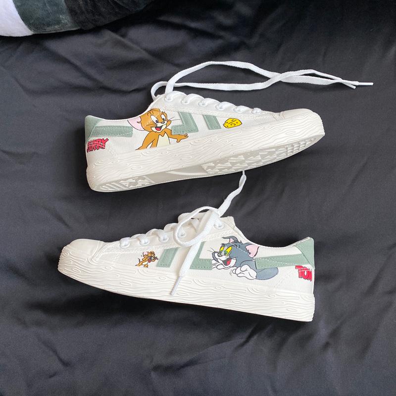 日本二更男士低帮帆布鞋秋猫和老鼠印花平底鞋子季透气防滑休闲鞋