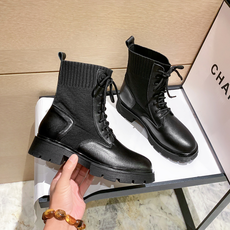 Leather Martin boots womens British style autumn and winter 2021 new flat heel soft sole elastic knitted short boots fashion Versatile Single boots