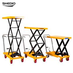 搬运平台小型手动液压升降车简易可移动式手推车装卸车升降机。