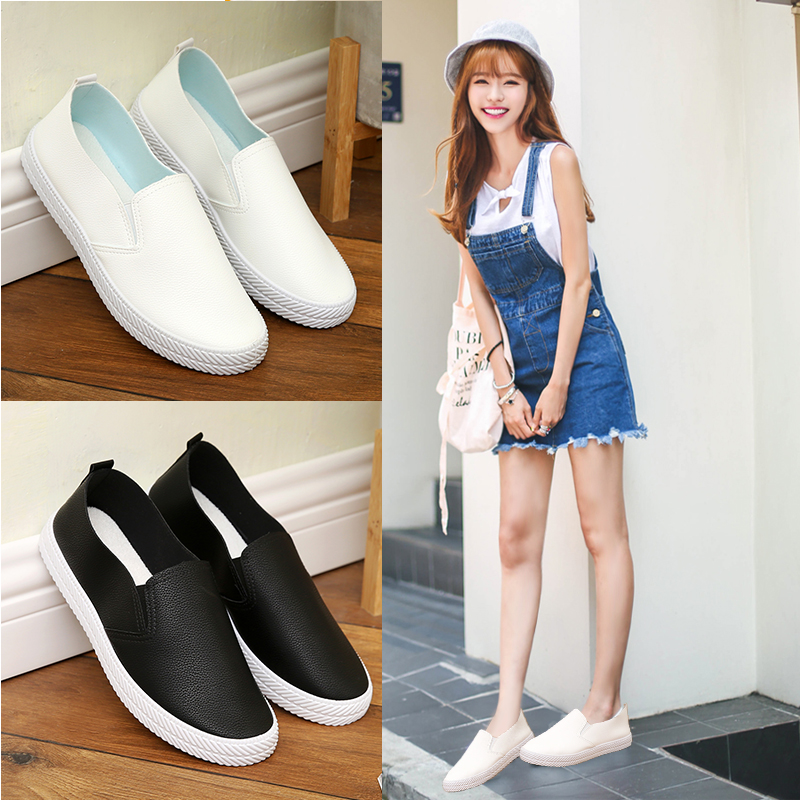 Spring 2020 small white shoes for female students to wear PU leather Lefu shoes for womens breathable flat bottomed casual shoes